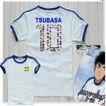 Dzieci dzieci młodzież piłka nożna bawełna Casual koszulki kapitan Tsubasa Tsubasa Ozora niebieski piłka nożna japońskie Anime mężczyźni kobiety t shirty