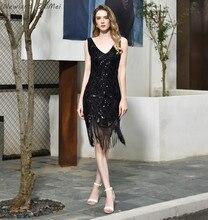 Newland ZhiMei pullu dantel kokteyl elbiseleri parti Sparkly V boyun püskül diz boyu kadın rahat elbise vestidos coctel