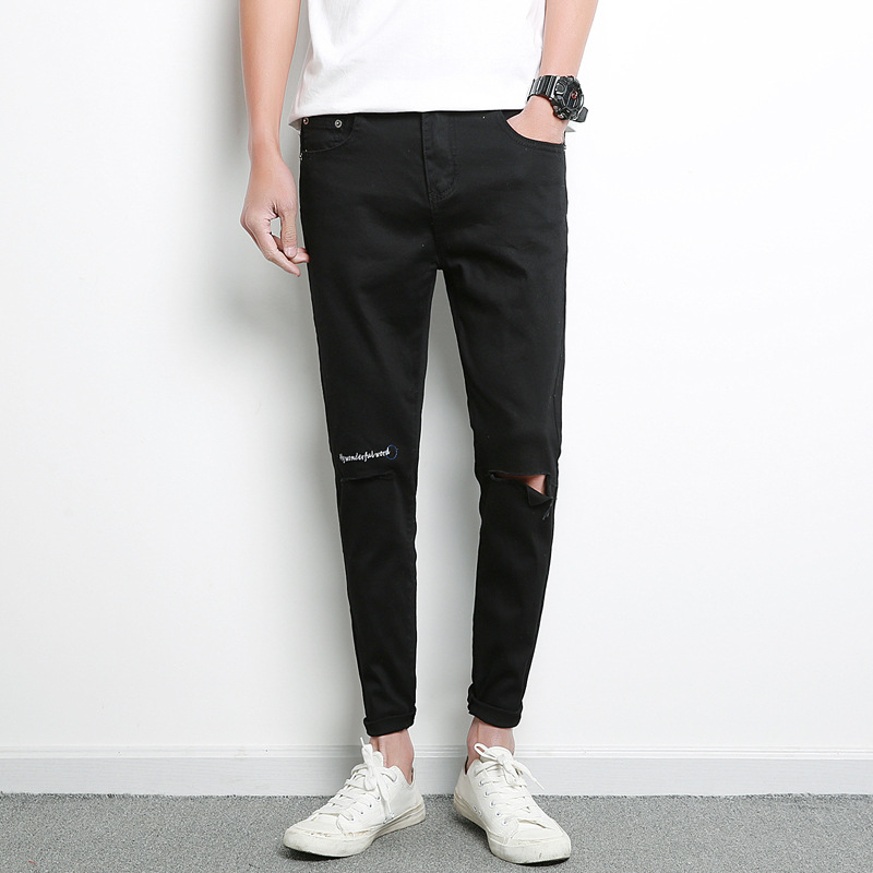 2019 Spring And Summer New Style MEN'S Jeans Korean-style Slim Fit With Holes Cowboy Skinny Pants Casual Embroidered Jeans Men's