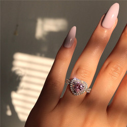 VAGZEB Fashion Silver Color Pink Crystal Heart Wedding Rings For Women Luxury Elegant Zircon Engagement Rings Jewelry Gifts