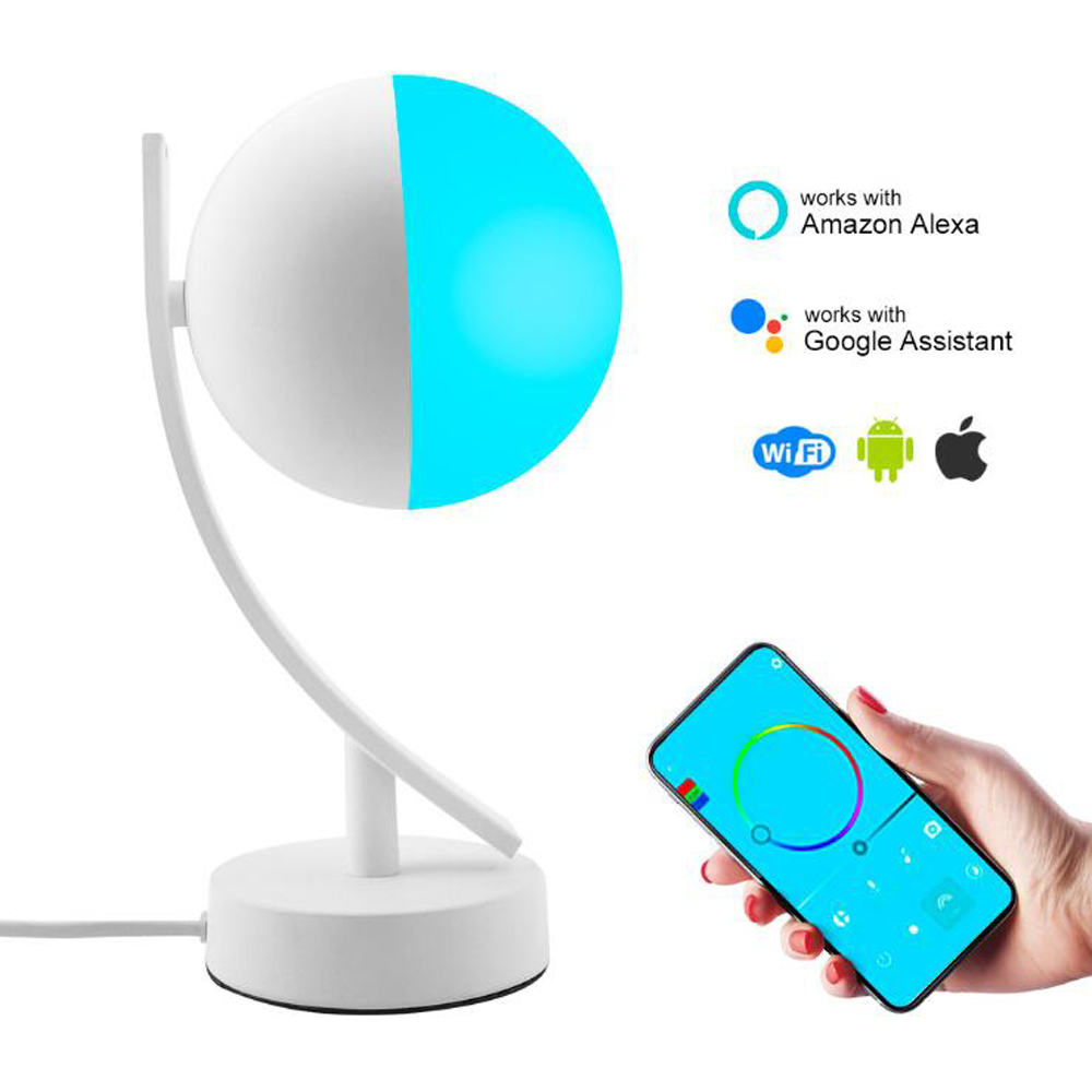 Suchme Smart Desk Lamp Bluetooth APP Remote Voice Control Dimmable RGB Lights Color Led Desk Lamp Foyer 3D Moon Night Light image
