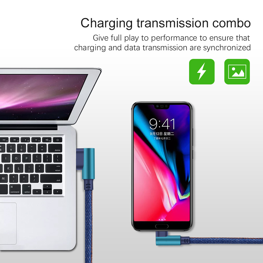 Image 5 - Olnylo Micro USB Cable 90 degree Fast Charger Charging Cable for Huawei USB Cord Micro Data Cable for Samsung HTC Android Phone-in Mobile Phone Cables from Cellphones & Telecommunications