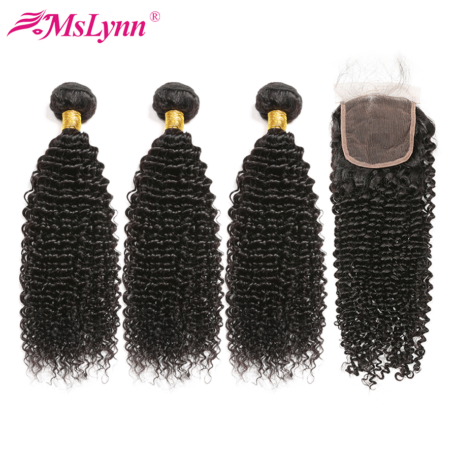 4 Bundles With Closure Afro Kinky Curly Hair With Closure Malaysian Hair Bundles With Closure Human Hair Mslynn Remy Hair