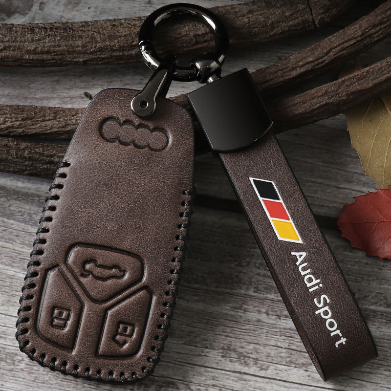 Leather key case For Audi a4l key sleeve Fashion tide A1 Q2L Q3 Q7 Q5L A4L A6 A7 s6 Car leather key case buckle shell upscale