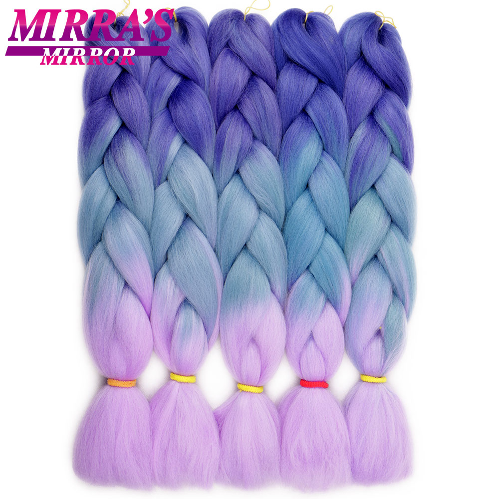 Mirra's Mirror Ombre Braiding Hair Extensions 24inch Jumbo Braid Hair Synthetic Crochet Hair Black Brown Blonde Pink Blue