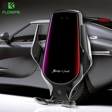 FLOVEME Car Phone Holder Auto Clamp Smart Sensor Wireless Charger Charging For iPhone 11 Samsung Phone Holder Car Phone Stand