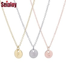 SEIALOY 925 Fashion Silver 26 Letters Charm Necklace For Women Men Lover Friendship Original Rose Gold Initials Pendant Necklace(China)