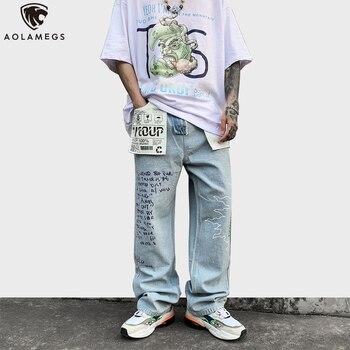 цена на Aolamegs Jeans Men Color Block Patch Graphic Print Denim Pants Men Loose Casual Straight Trousers High Street Fashion Streetwear