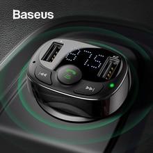Купить с кэшбэком Baseus Dual USB Car Charger with FM Transmitter Bluetooth Handsfree FM Modulator Phone Charger in car For iPhone Xiaomi HUAWEI