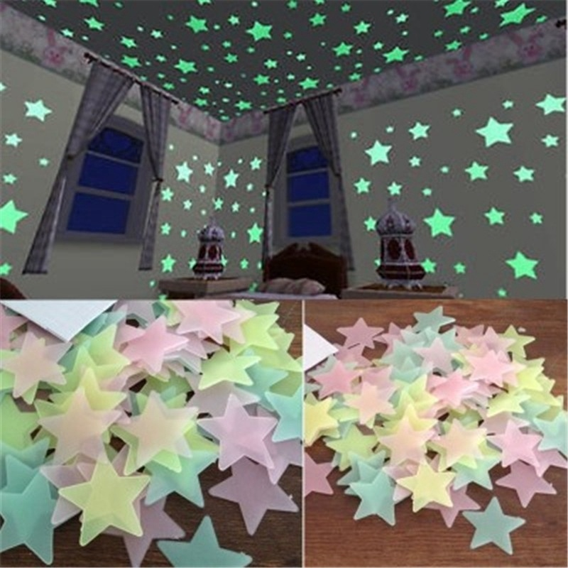 100pcs 3cm 3D Stars Glow In The Dark Wall Stickers Stars Luminous Fluorescent Glow Wall Stickers Kids Bedroom Ceiling Home Decor
