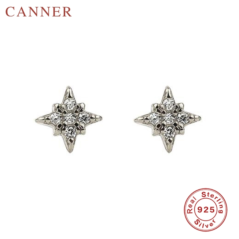 Minimalist 925 Sterling Silver Zircon Stud Earrings for Women INS Geometric Crystal Cross Gold Silver Earrings Fashion Jewelry