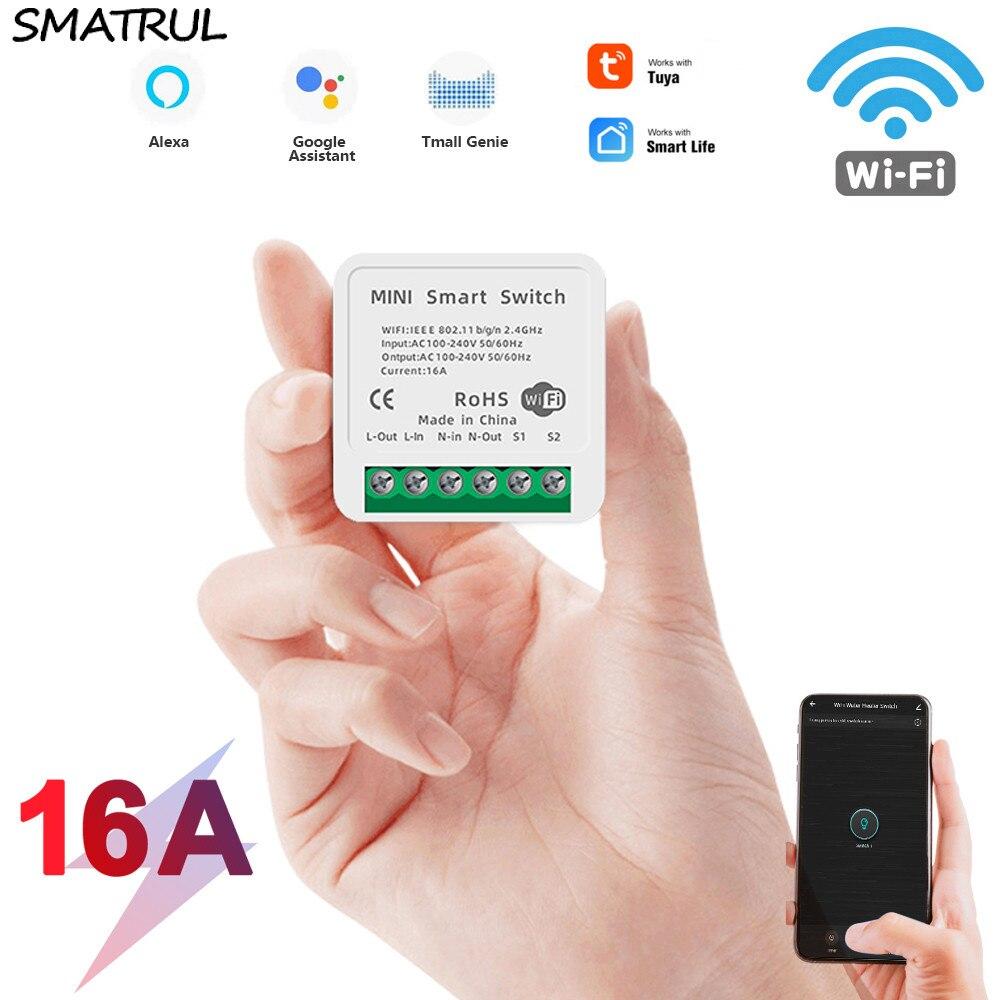 Smatrul 16a 10a mini diy tuya wifi vida inteligente push switch luz suporta 2 vias módulo de controle app voz relé google casa alexa
