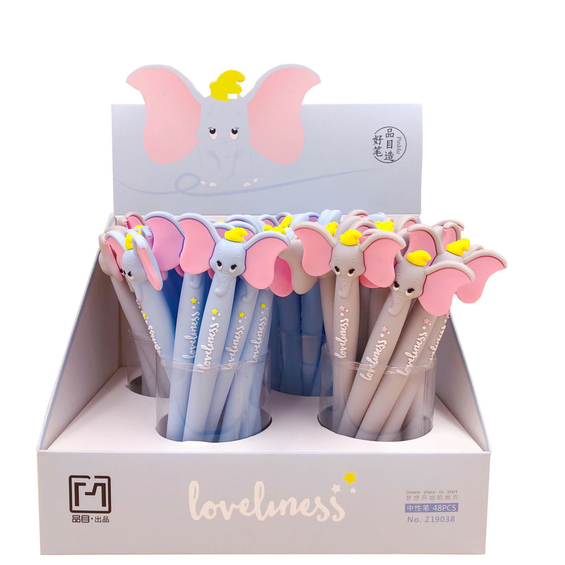 1pcs Silicone Gel Pens Cute Cartoon Dumbo Korean Creative Stationary Canetas Blue Grey Kawaii School Office Supplies