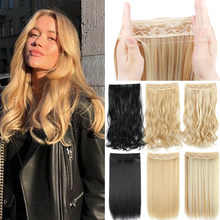 Halo Hair Extensions No Clip in Fish Line False Hairpiece Synthetic Hair Piece Colored Natural Brown Black Fringe Fake Hair