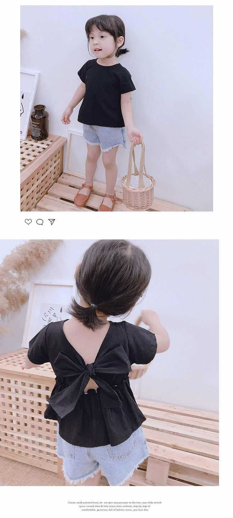 Baby GIRL'S T-shirt 2019 New Style Summer Wear Baby Bow GIRL'S Shirt Children Short-sleeved Top Fashion