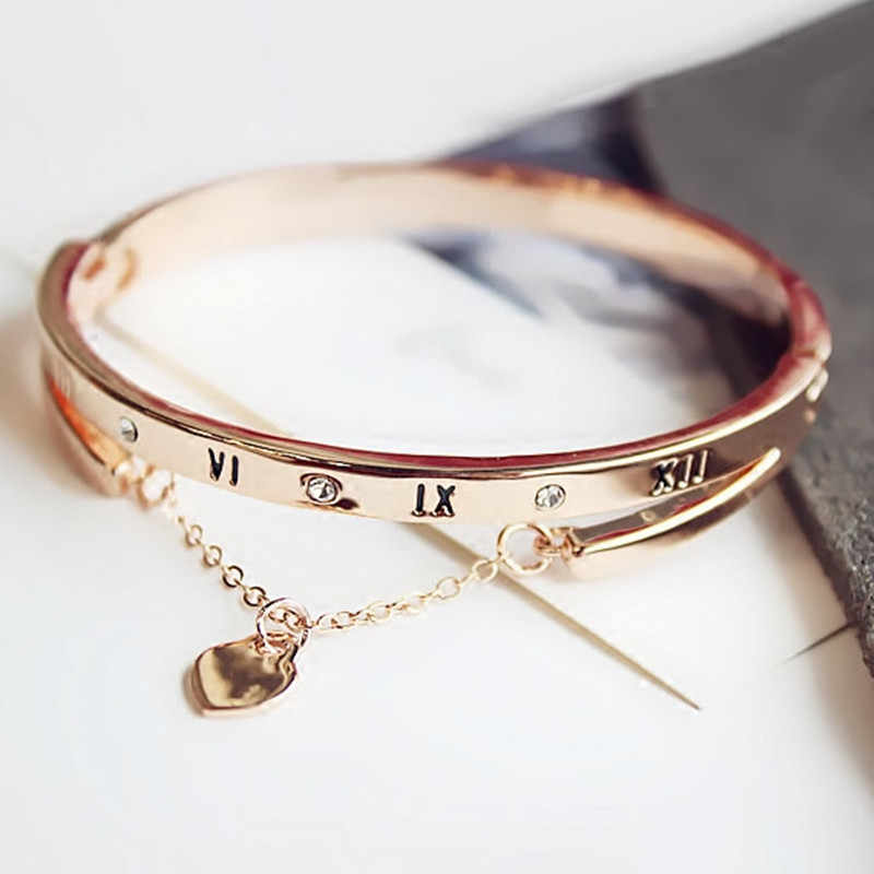 Trendy Luxury Rose Gold Stainless Steel Cuff Bracelets Bangles Female Heart Forever Love Charm Bracelet for Women Famous Jewelry
