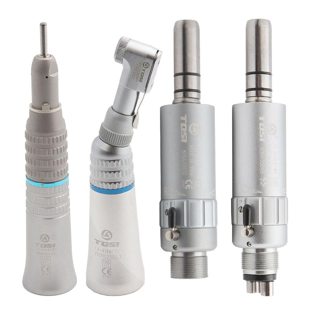 TOSI Dental Low Speed Handpiece Kit Air Turbine Straight Contra Angle Air Motor 2/4Holes Available
