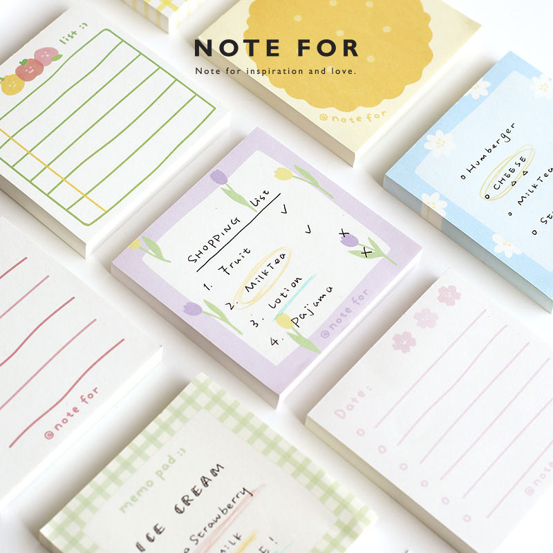 JIANWU 100 Sheets Simple And Fresh  Memo Pad Writing Paper Decoration Bullet Journal Sticker Office Supplies No Stickiness