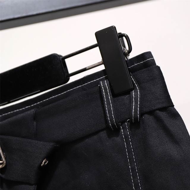2019 autumn winter plus size mini skirt for women large casual loose elastic waist short skirts belt blue 3XL 4XL 5XL 6XL 7XL 5