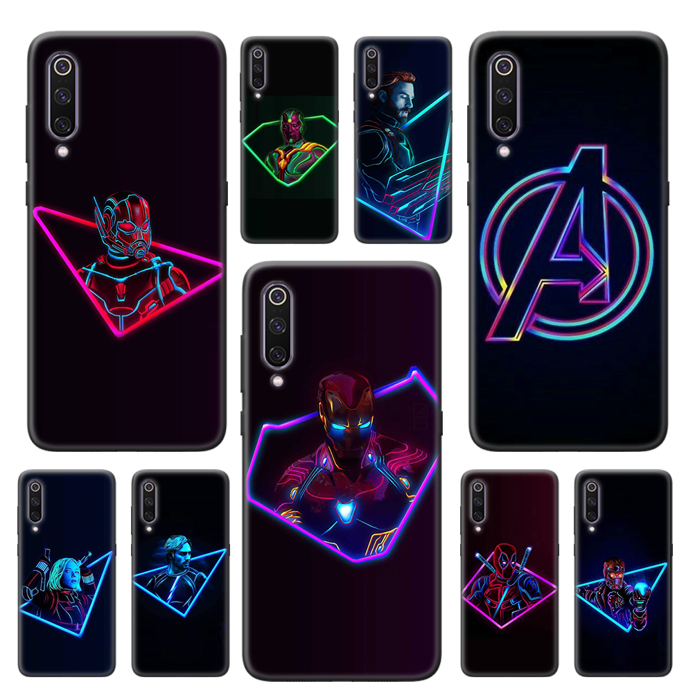 Neon Marvel Avengers Fluorescent Soft Case For Xiaomi Mi 10 CC9 CC9E 9 9T 10 Pro 8 9 10 Lite 5G Note 10 Pro TPU Black Cover Capa