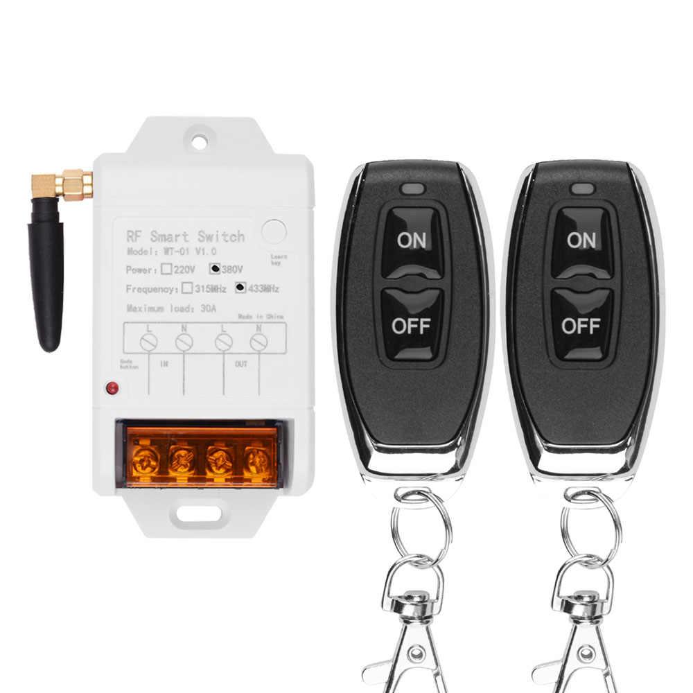 التيار المتناوب 220 فولت 380 فولت 1CH 30A اللاسلكية التحكم عن بعد التبديل استقبال + الارسال لمضخة المياه مصباح ليد باب المرآب