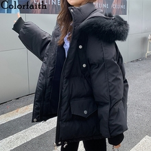 Short Coat Jackets Parkas Hooded QUILTED PUFFER Colorfaith Winter Women Oversize Warm