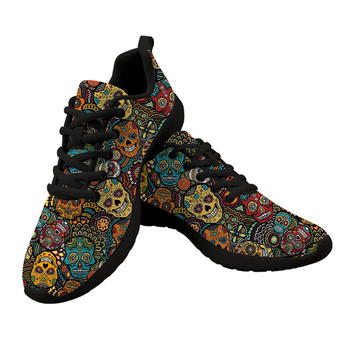 FORUDESIGNS Gothic Shoes Women's Sneakers Sugar Skull Print Women Casual Mesh Flats Tenis Feminino Zapatos de Mujer Zapatillas forudesigns sketch medical pink print fashion women flats shoes female casual sneakers woman girls comfortable mesh shoes mujer