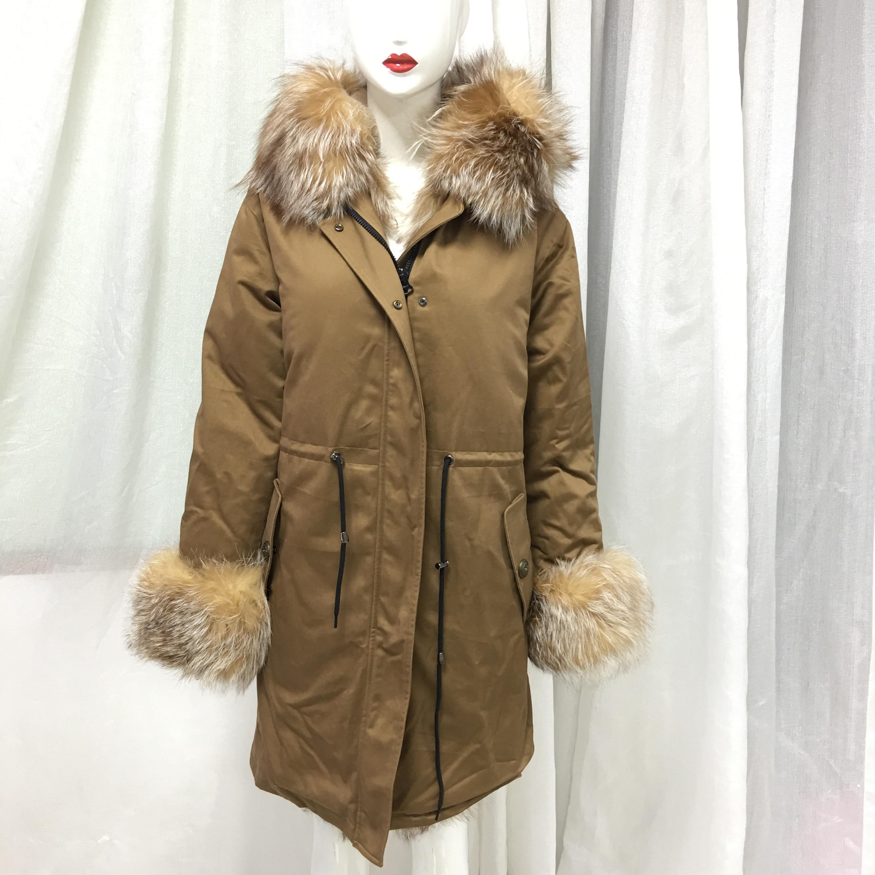 Single Color Tone Style Winter Women Real Tartan Fox Fur Front Cuff Collar Long Light Brown Winter Jacket