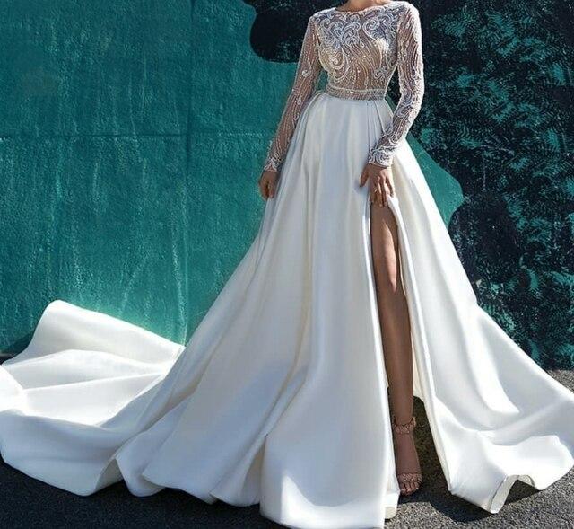 Eslieb custom made import 395 satin wedding dresses