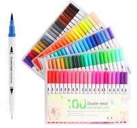 12/24/36/48/60/80/100 cor dupla-headed aquarela caneta pintura marcador conjunto infantil cabeça macia caneta arte fornecimento