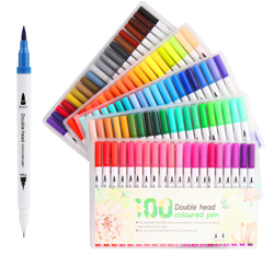 12/24/36/48/60/80/100 kolor dwugłowy akwarela pióro malarstwo zestaw markerów dzieci miękkie głowy pióro dostawa sztuki