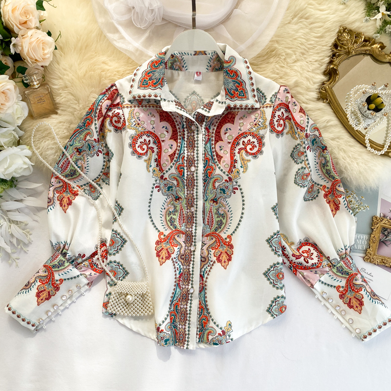 Women's Vintage Shirt Court-style Printed Puff Sleeve-Breasted Temperament Ladies Shirt Office Lady Turn-down Collar Tops ML648