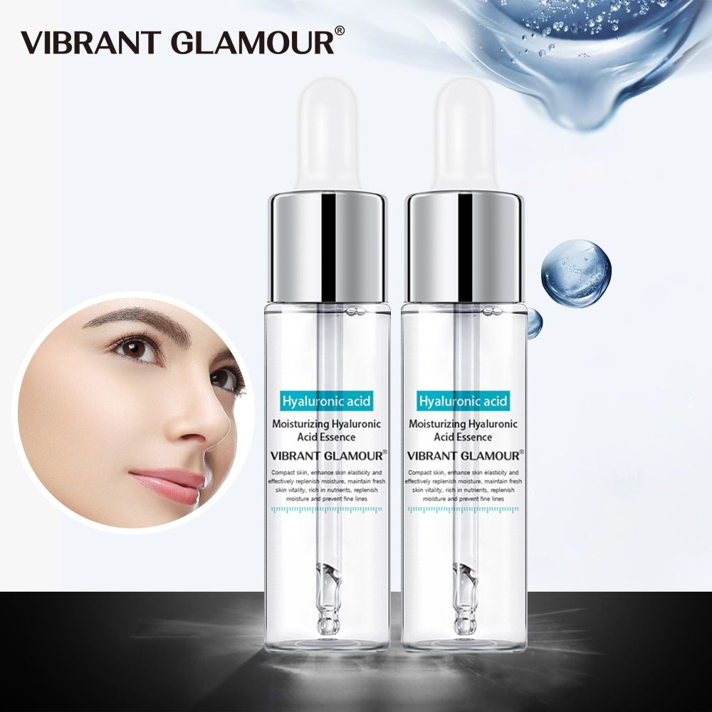 VIBRANT GLAMOUR 2Pcs Hyaluronic Acid Face Serum Shrink Pores Moisturizing Whitening Essence Acne Dry Rough Men Women Skin Care