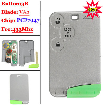 New 3 Button 433MHZ pcf7947 chip with recharge battery remote card  for Renault Laguna (1piece) - sale item Security Alarm
