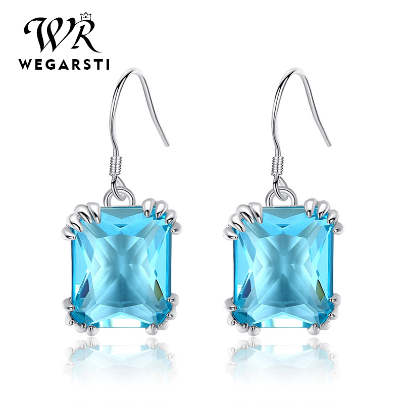 WEGARSTI 925 Silver Candy Color Shinning Full Crystal AAA Cubic Zirconia Earrings For Women Solid Brincos Jewelry 6 Color