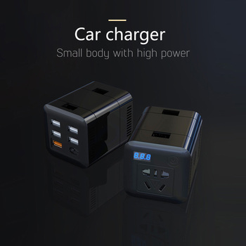 AOSHIKE 100W inversor 12 V 220 V transformador de voltaje DC a AC 12 V a 220 V convertidor de potencia con 4 adaptador de cargador de coche USB