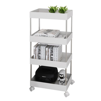 Ins Kitchen Living Room Bathroom Movable Storage Shelf Sewing Net Basket Landing Shelf Trolley Household