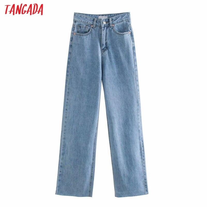Tangada 2020 Модные женские джинсовые брюки с высокой талией и карманами на молнии 4M521 Джинсы      АлиЭкспресс