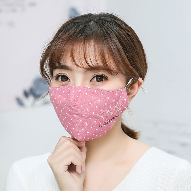 Women Printing Mask Spring Cotton Embroidery dot Dustproof Knot Bow Breathable Masks Fashion Pink Korean Mouth Face Mask #W3 3