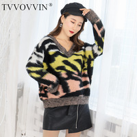 TVVOVVIN 2019 Autumn Casual Mohair Leopard Print Hit Color Loose Form V Ruffled Collar Sweater Keep Warm Knitting L146