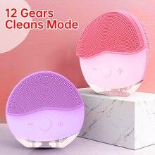 Ultra sônico elétrica escova de limpeza facial 12 modo massageador para rosto limpador escova sônico profunda escova de lavagem da pele poros mais limpo