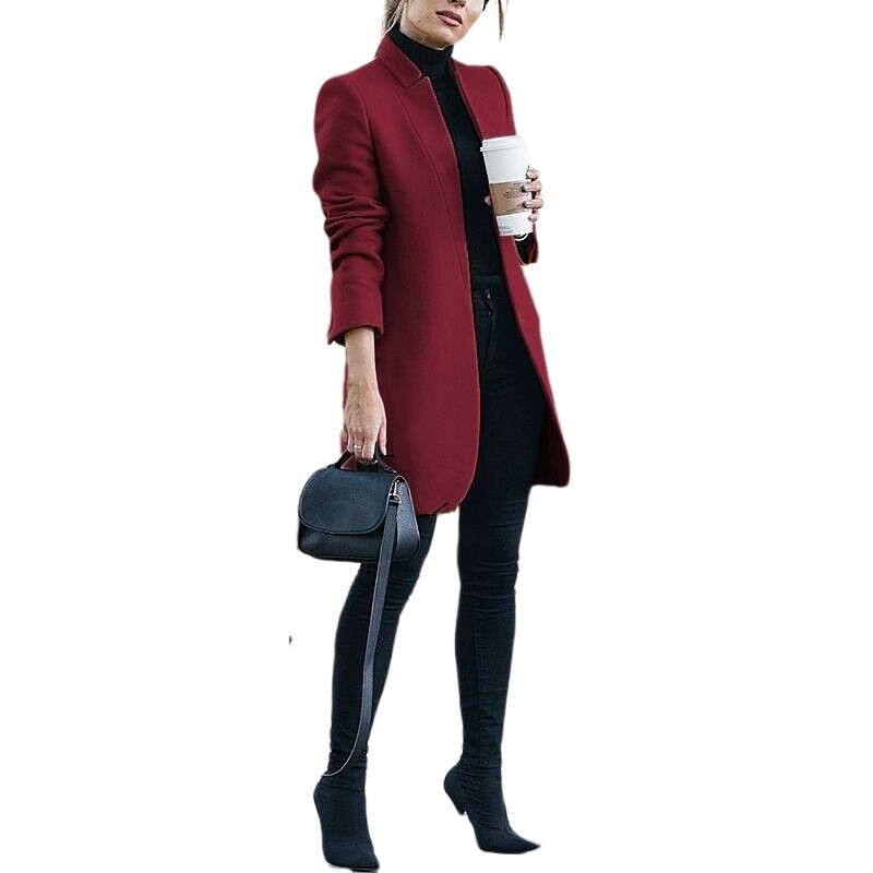 Women Wool Coat 2019 Winter New Casual Korean Version Fashion Full Sleeve Plus Size 3xl Women Long Coats High Quality Red Coat