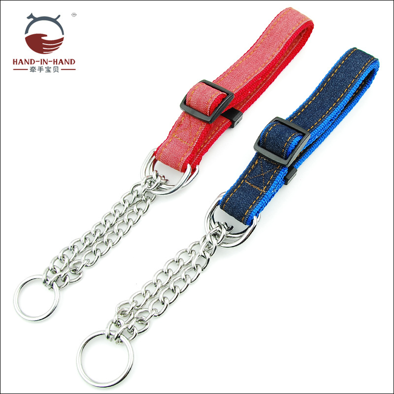 Hand-in-hand Pet Supplies Pet Collar Large Dog Collar Collar Collar Dog Supplies P Pendant Iron Chain Cowboy