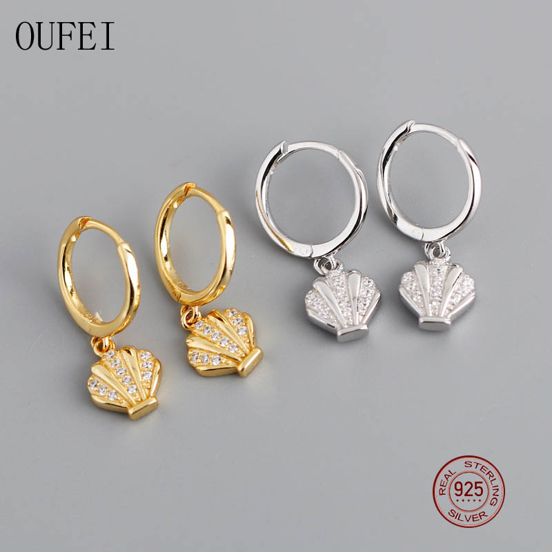 OUFEI Real 925 Sterling Silver Shiny Pure Shells Drop Earrings For Women Exquisite Earrings Fashion Earrings Fine Jewelry