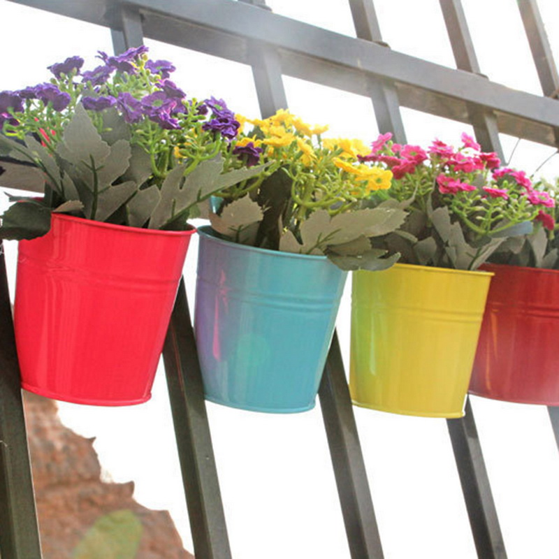 High Quality 10 Colors Hanging Flower Pots  Hook Wall Pots Garden Pots Balcony Planters Metal Bucket Flower Holders Home Decor