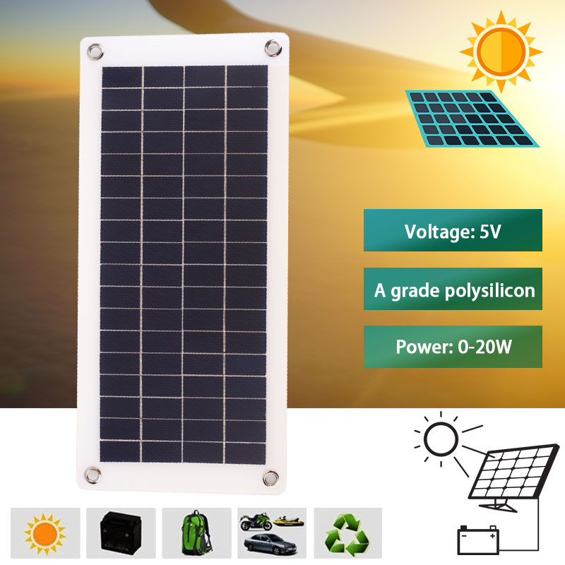 20W 18V Solar Panel System Solar Controller Multifunctional Solar Panel Charger Travel Polysilicon Solar Panel Kit Regulator