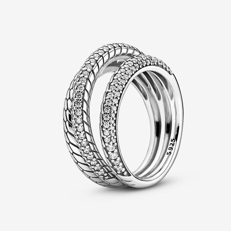 Bague d'automne pour femmes, en argent Sterling 925, Triple bande, Pavé, motif serpent, marque originale, bijoux cadeau, nouvelle collection 2020