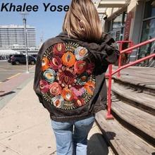 цены на KHALEE YOSE Floral Embroidery Denim Jacket autumn women Oversized loose casual jacket long sleeve boho chic coat winter coat  в интернет-магазинах