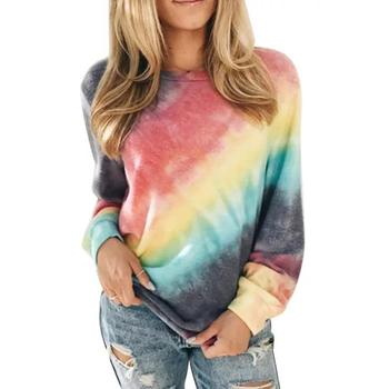 Women Casual Long Sleeve Blouse O Neck Tie Dye Loose Pullover Sweatshirt Top Blouse Plus Size 2XL plus size low cut tie dye tank top