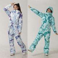 Ski Set Hooded Women Overalls One Piece Ski Jumpsuit Outdoor Sports Snowboard Jacket Warm Jumpsuit Waterproof Winter Clothing